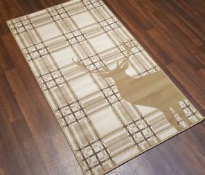 Modern Approx 5x3 80x150cm Woven Top Quality Stag-checks Beiges/Berber Rugs/Mat